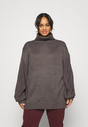 ROLL NECK CABLE SLEEVE JUMPER - Sweter - charcoal
