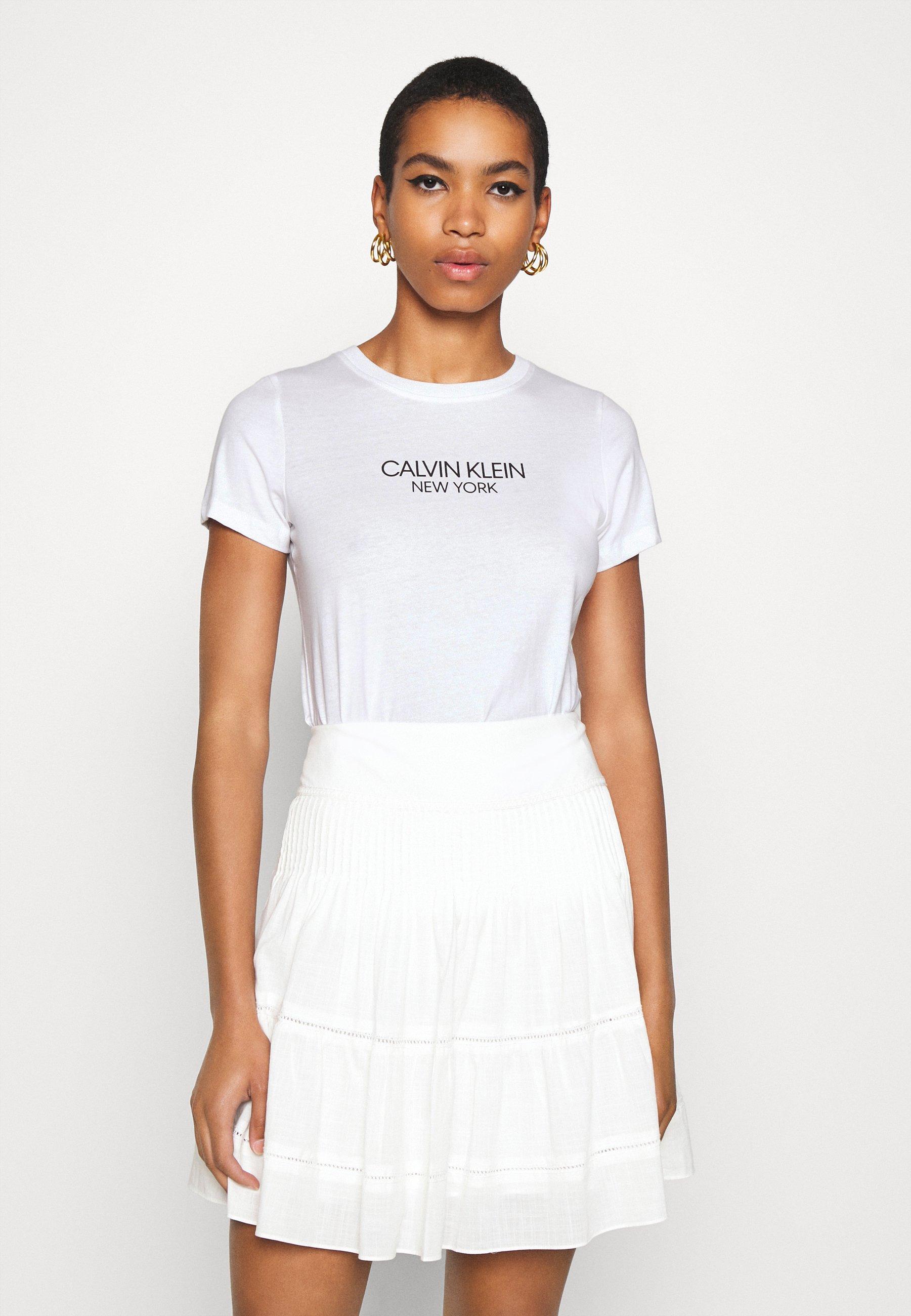 Calvin Klein 2 PACK - T-shirt imprimé - white/mid grey heather - Tops & T-shirts Femme XmphV