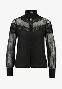 Fashion Union Petite - OLEUM FASHION UNION INSERT BLOUSE - Button-down blouse - black - 4