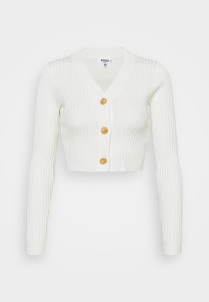 HORN BUTTON CROPPED - Cardigan - cream