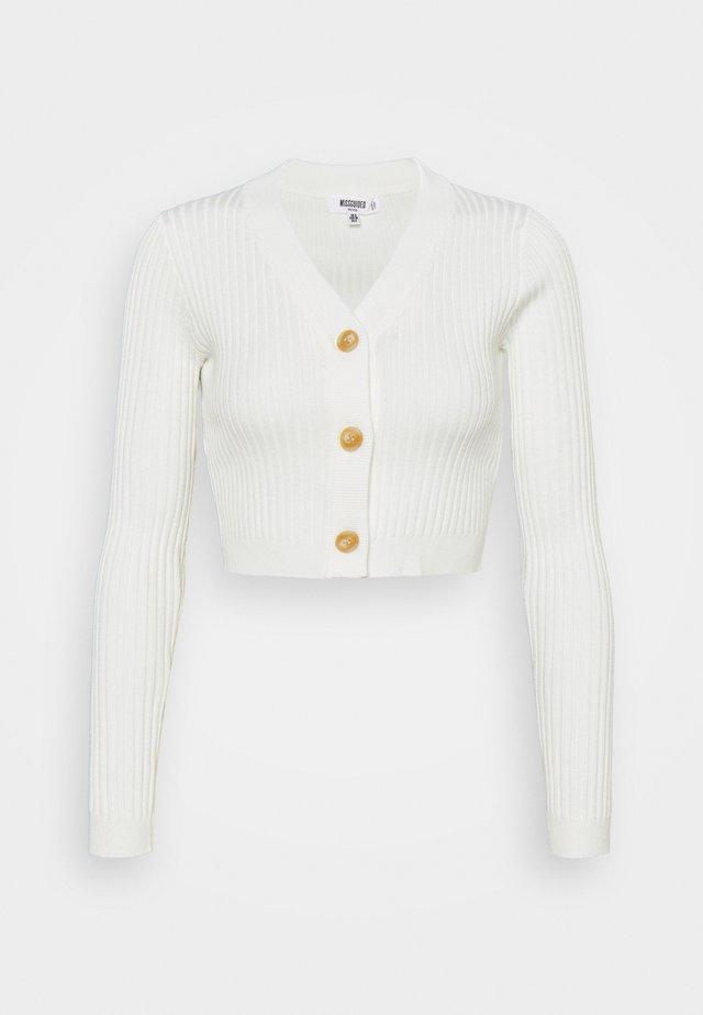HORN BUTTON CROPPED - Vest - cream