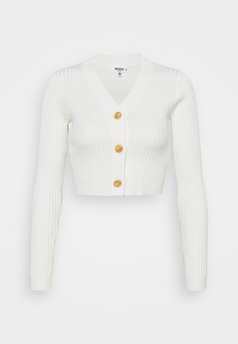 Missguided Petite - HORN BUTTON CROPPED - Cardigan - cream