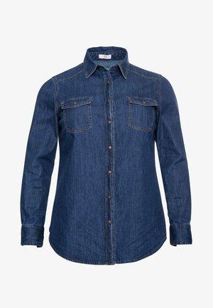 Button-down blouse - blue denim