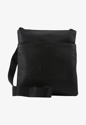 SMALL FLAT CROSSBODY BAG - Axelremsväska - black/gunmetal