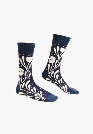 FLOWERS - LISA JUNIUS - Socks - light blue / white