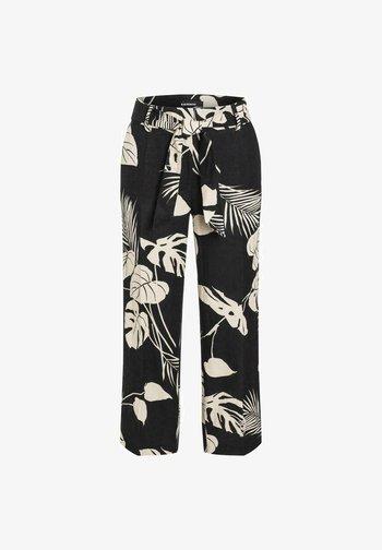 Trousers - black/sand natural leaf