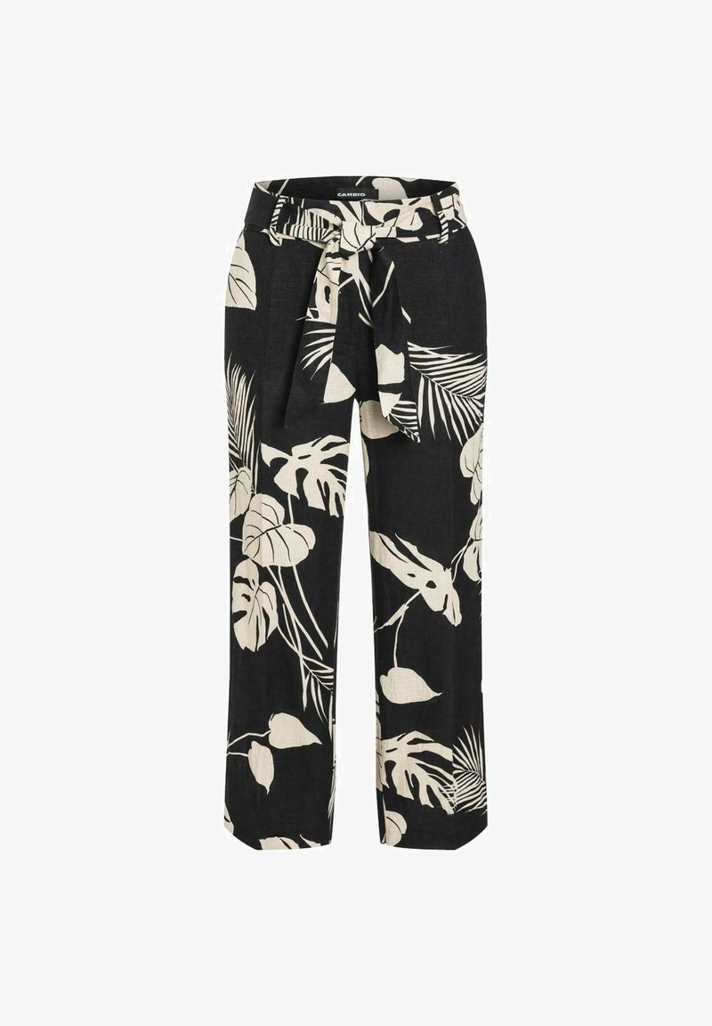 Cambio - Trousers - black/sand natural leaf