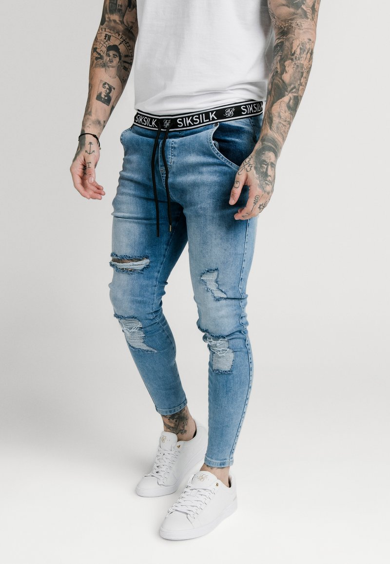 SIKSILK - ELASTICATED WAIST DISTRESSED - Jeans Skinny Fit - midstone blue
