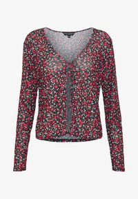 Dorothy Perkins - DITSY PRINT TIE FRONT MESH - Cardigan - red - 4