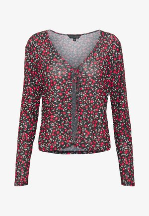 DITSY PRINT TIE FRONT MESH - Gilet - red