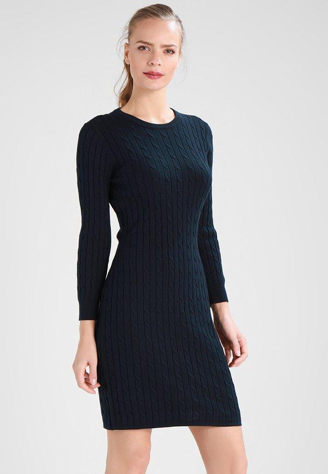 STRETCH CABLE DRESS - Neulemekko - evening blue
