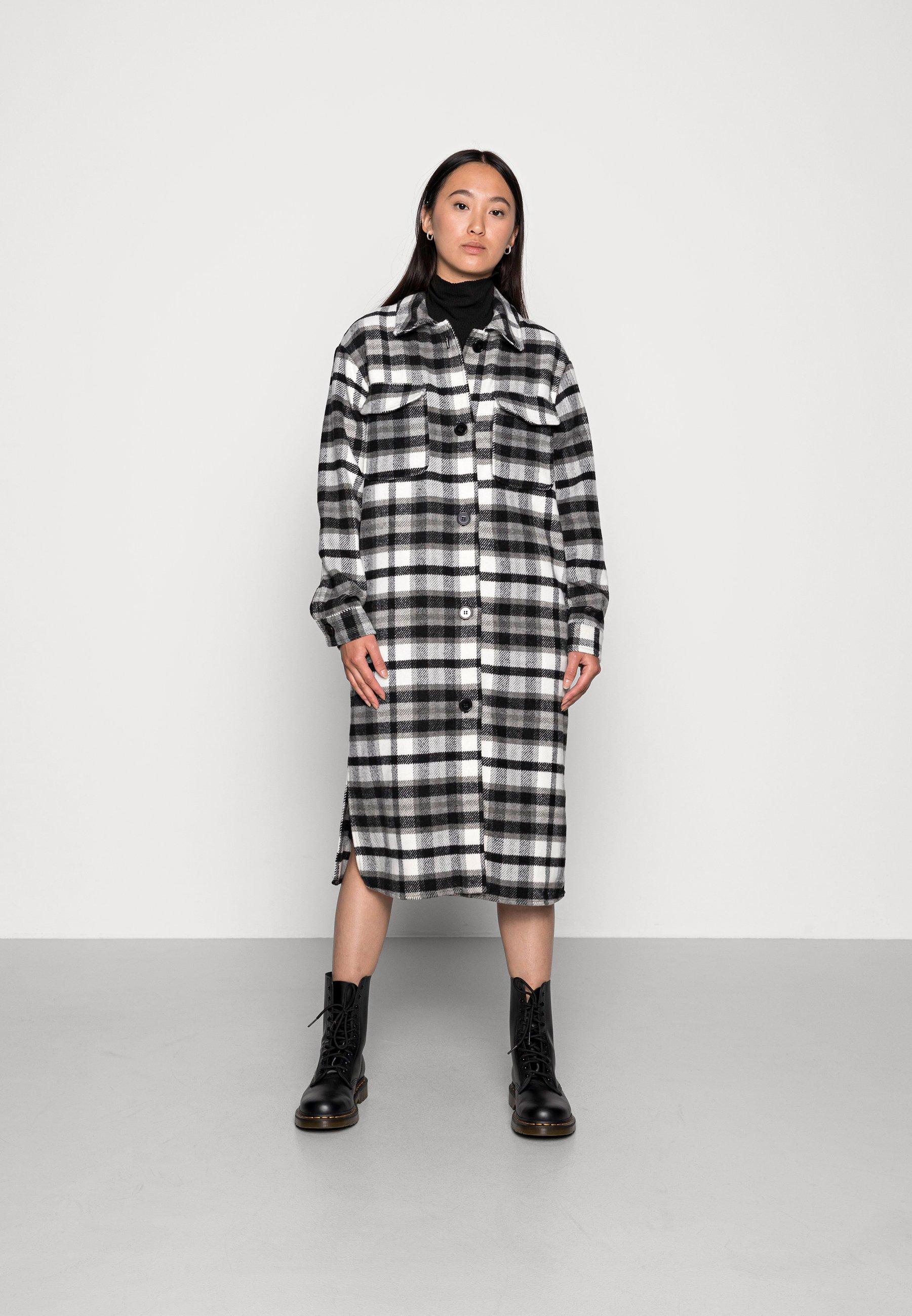 Women UMALA LONG CHECK JACKET - Classic coat - black