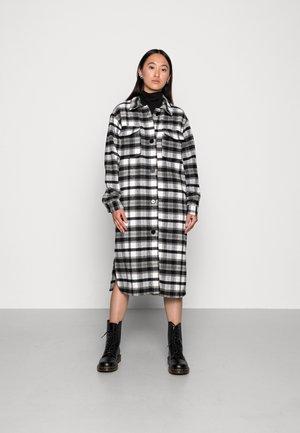 UMALA LONG CHECK JACKET - Classic coat - black