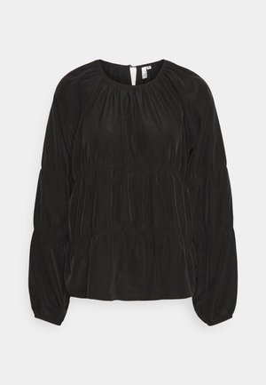 LOOSE RUCHE BLOUSE - Long sleeved top - black