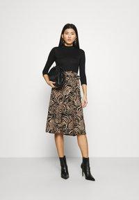 Dorothy Perkins - ZEBRA PRINT DRESS - Day dress - black - 1
