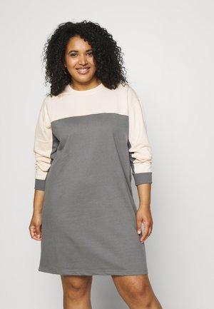 COLOUR BLOCK DRESS - Denní šaty - dark grey/cream