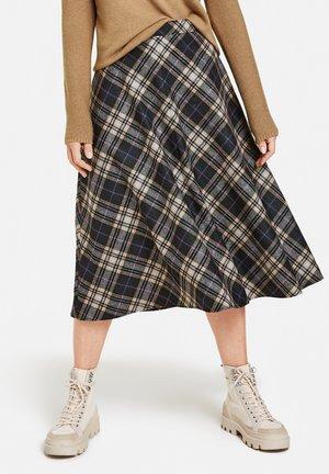 WEIT AUSGESTELLTER KARO - A-line skirt - schwarz/braun karo