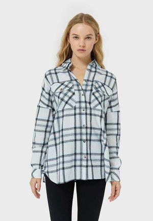Button-down blouse - mottled light blue