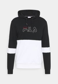 Fila - JADON BLOCKED TAPE HOODY - Sweatshirt - black/bright white - 0