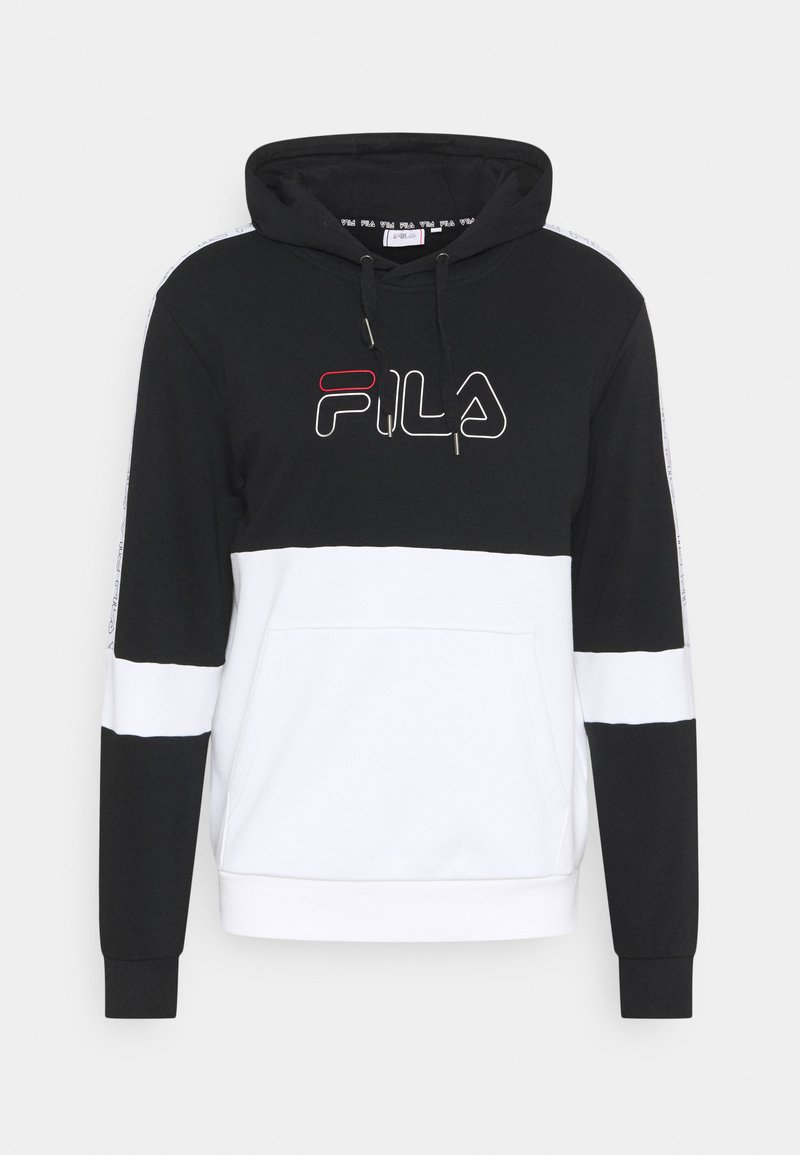 Fila - JADON BLOCKED TAPE HOODY - Sweatshirt - black/bright white