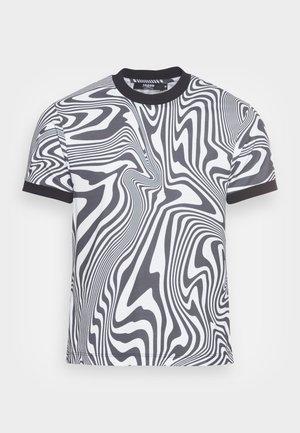 WARPED WAVE RINGER - T-shirt con stampa - black/white