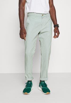 DENTON DOBBY STRIPE - Trousers - glazed green