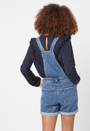 MID BLUE DUNGAREE SHORTS - Salopette - blue