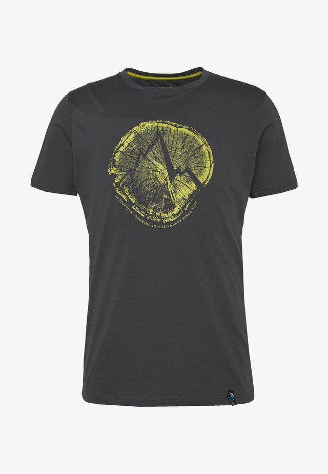 CROSS SECTION - T-shirt print - carbon/kiwi