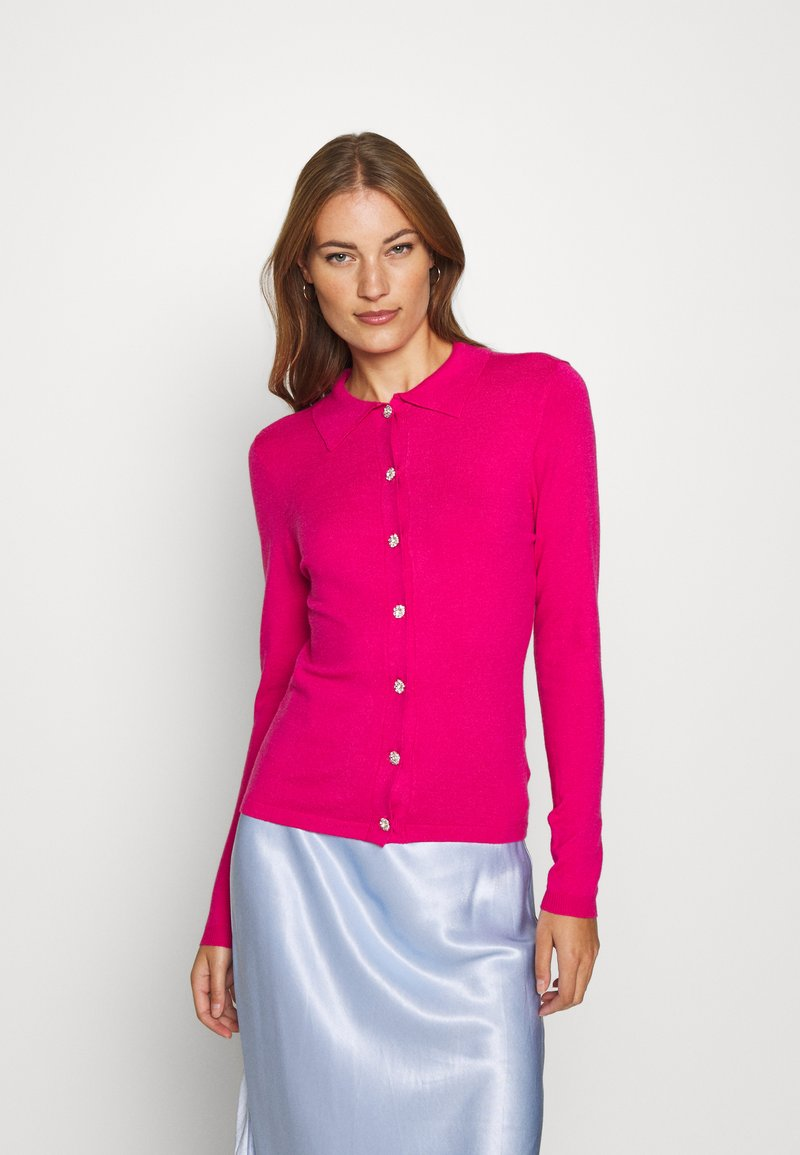 Who What Wear - COLLARED CARDIGAN - Cardigan - raspberry