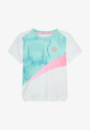 AKOFA TECH TEE - Print T-shirt - white/mint/pink