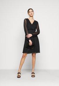 Dorothy Perkins Tall - WRAP DOBBY DRESS - Cocktail dress / Party dress - black - 1