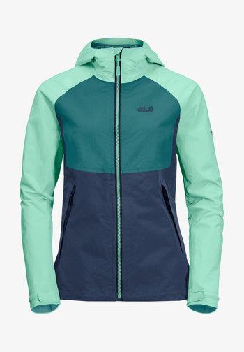 Waterproof jacket - dark indigo emerald green