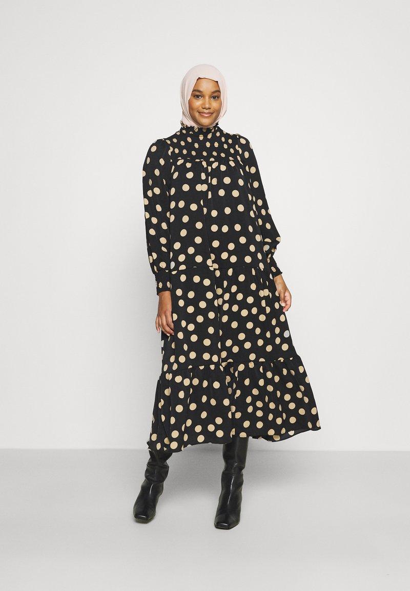 Glamorous - MODESTY SMOCKED HIGHNECK MAXI DRESSES WITH LONG SLEEVES - Maxi dress - black/sand