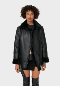Stradivarius - DOUBLEFACE - Faux leather jacket - black - 0