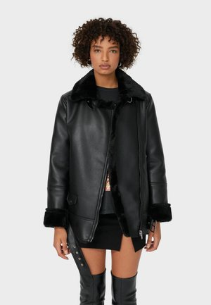 DOUBLEFACE - Faux leather jacket - black
