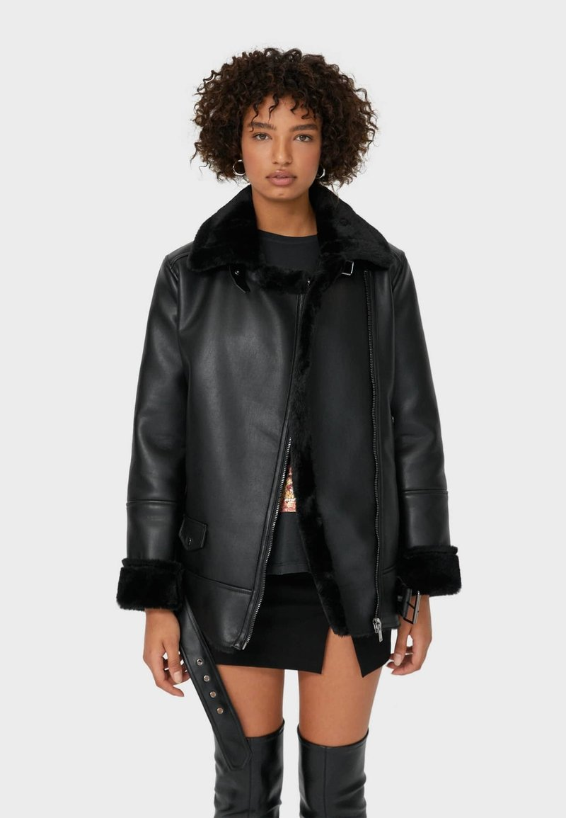 Stradivarius - DOUBLEFACE - Faux leather jacket - black
