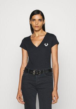 VNECK TEE FOIL LOGO - Print T-shirt - black
