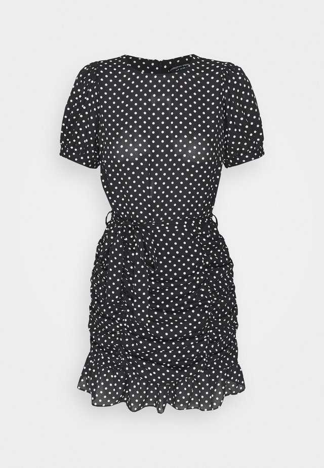 DALMATIAN RUCHED MINI DRESS - Robe d'été - black