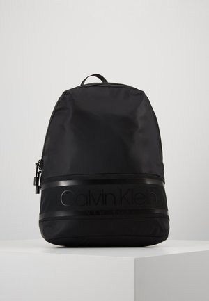 STRIPED LOGO ROUND BACKPACK - Rucksack - black