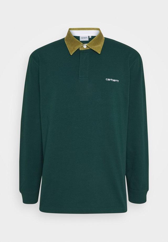 RUGBY POLO - Poloshirt - bottle green / hamilton brown / white