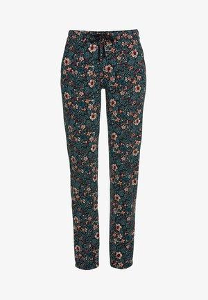 Pyjama bottoms - blau-geblümt-weinrot