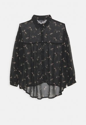 OVERSIZED GATHERED BACK BLOUSE - Button-down blouse - black