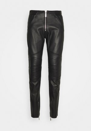 PANTALONE - Leather trousers - black