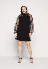 Missguided Plus - PLUS HIGH NECK SLEEVE MINI DRESS - Cocktail dress / Party dress - black - 0