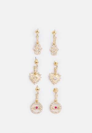 3 PACK - Earrings - gold-coloured