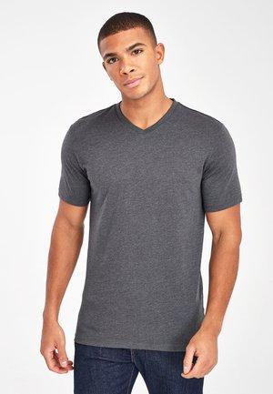 V-NECK T-SHIRT-SLIM FIT - Basic T-shirt - grey