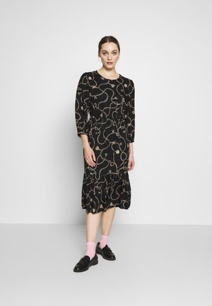 CHAIN PRINT TIERED LONGSLEEVE MIDI - Day dress - black