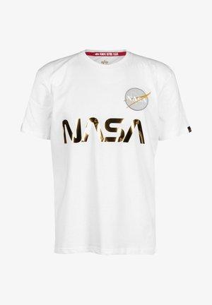NASA REFLECTIVE TEE - Camiseta estampada - white/gold