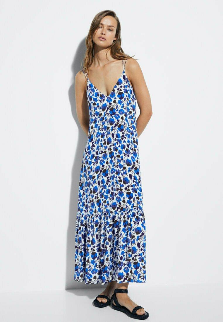 Massimo Dutti - MIT BLUMENPRINT  - Maxi dress - blue