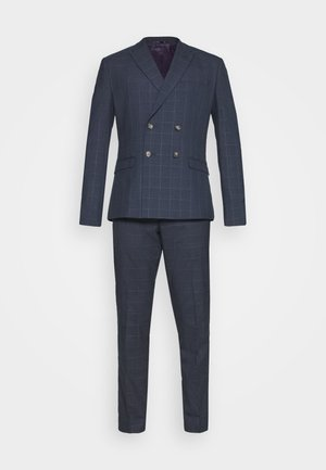 DOUBLE BREASTED WINDOWPANE CHECK SUIT - Jakkesæt - dark blue